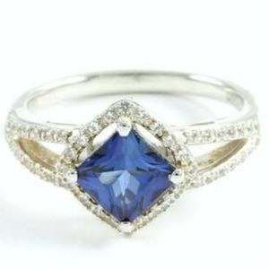 Sterling Silver, Blue & White Sapphire Ring